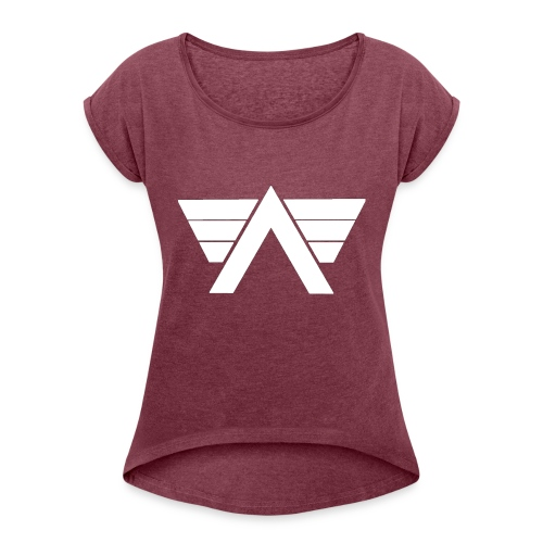 Bordeaux Sweater White AeRo Logo - Women's Roll Cuff T-Shirt