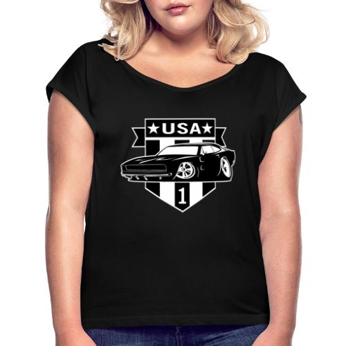Classic Car with USA 1 Shield - Women's Roll Cuff T-Shirt