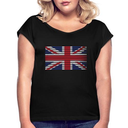 United Kingdom drummer drum stick flag - Women's Roll Cuff T-Shirt
