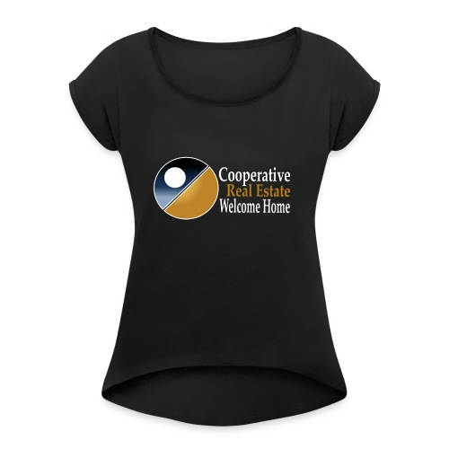 00044_Logo_horizontal_for_dark_backgrounds_-1- - Women's Roll Cuff T-Shirt