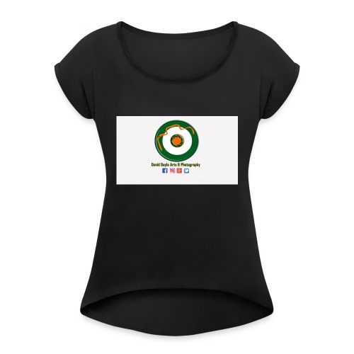 David Doyle Arts & Photography Logo - Women's Roll Cuff T-Shirt