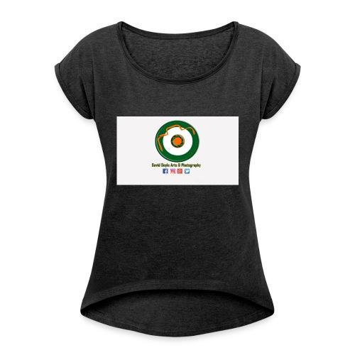 David Doyle Arts & Photography Logo - Women's Roll Cuff T-Shirt