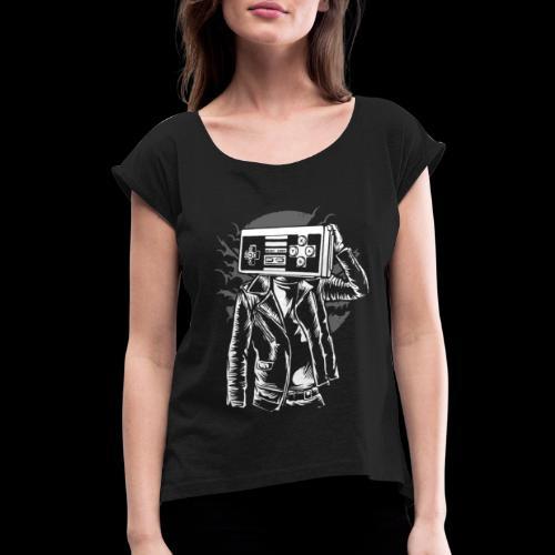 Retro Gamer Head - Women's Roll Cuff T-Shirt
