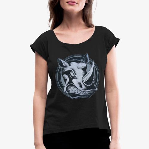 Wild Rhino Grunge Animal - Women's Roll Cuff T-Shirt