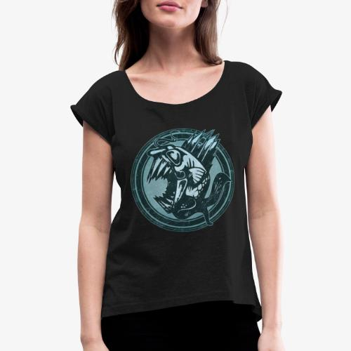 Wild Fish Grunge Animal - Women's Roll Cuff T-Shirt