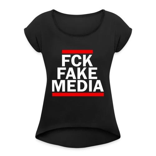 FCK FAKE MEDIA - RED - Women's Roll Cuff T-Shirt