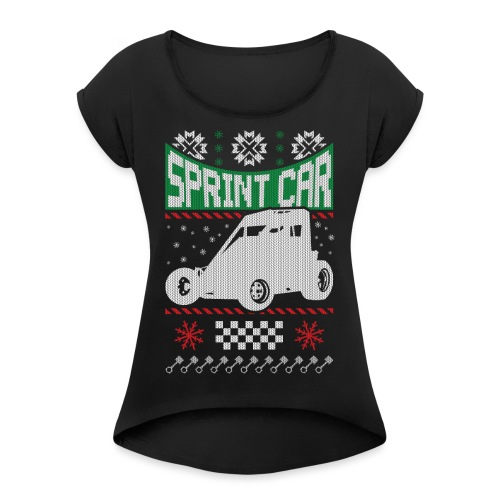 Sprint Car Christmas - Women's Roll Cuff T-Shirt