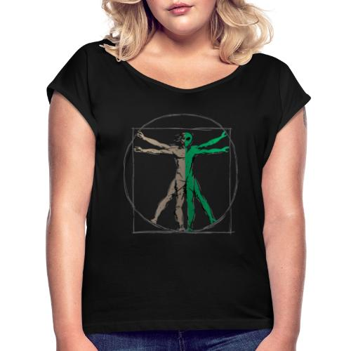 Da Vinci Alien Man - Women's Roll Cuff T-Shirt