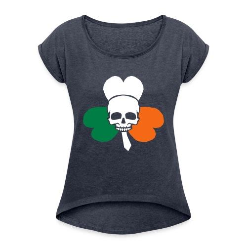 irish_skull_shamrock - Women's Roll Cuff T-Shirt