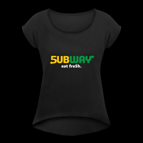 5ubway Print - Women's Roll Cuff T-Shirt