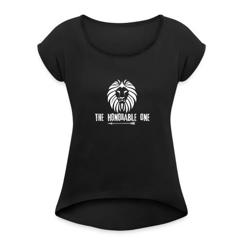 Lion: The Honorable One (White) - Women's Roll Cuff T-Shirt