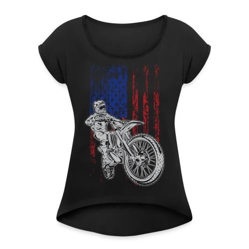 Motocross USA Race Rider - Women's Roll Cuff T-Shirt