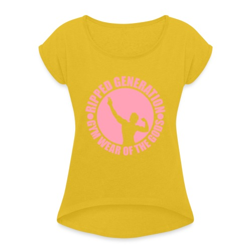 Ripped Generation Gym Wear of the Gods Badge Logo - Women's Roll Cuff T-Shirt