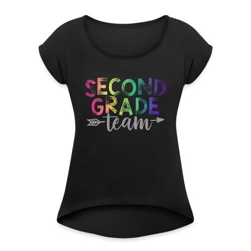 Second Grade Team Teacher T-Shirts Rainbow - Women's Roll Cuff T-Shirt