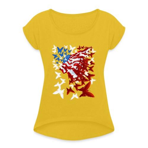 The Butterfly Flag - Women's Roll Cuff T-Shirt