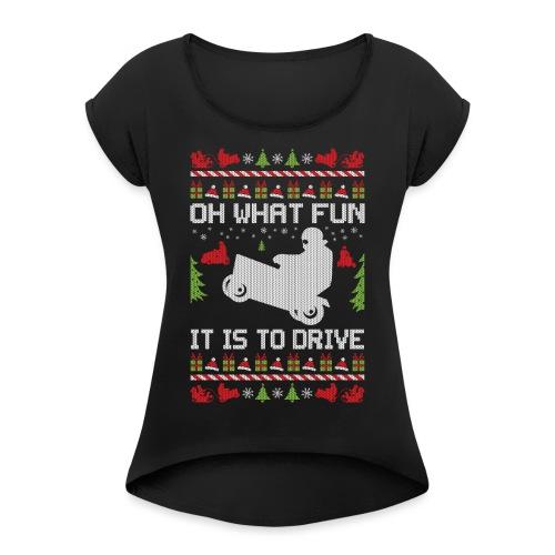 Lawnmower Christmas - Women's Roll Cuff T-Shirt