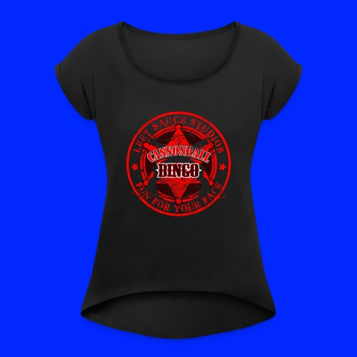 Vintage Cannonball Bingo Badge All Red - Women's Roll Cuff T-Shirt