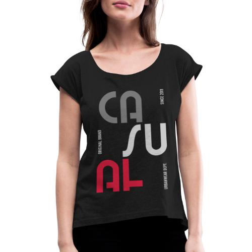 casual wear fashion style - Women's Roll Cuff T-Shirt
