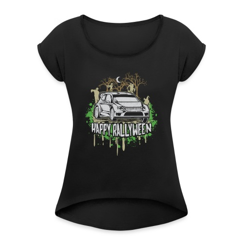 Rally Car Halloween - Women's Roll Cuff T-Shirt