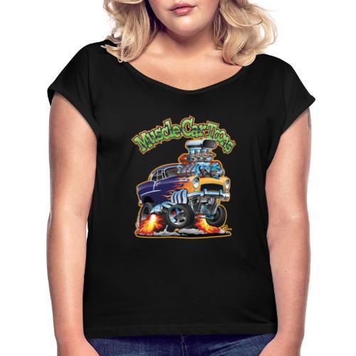 Muscle Car Toons Automotive Comic Book Cover Art - Women's Roll Cuff T-Shirt