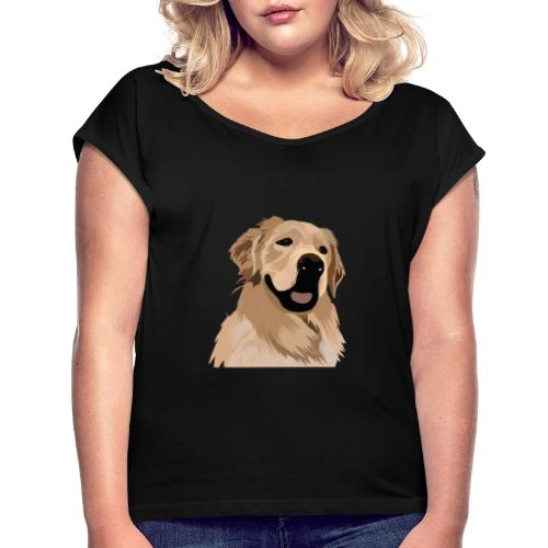 Hand illustrated golden retriever print / goldie - Women's Roll Cuff T-Shirt