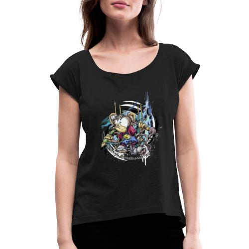 the graphic monkey - Women's Roll Cuff T-Shirt