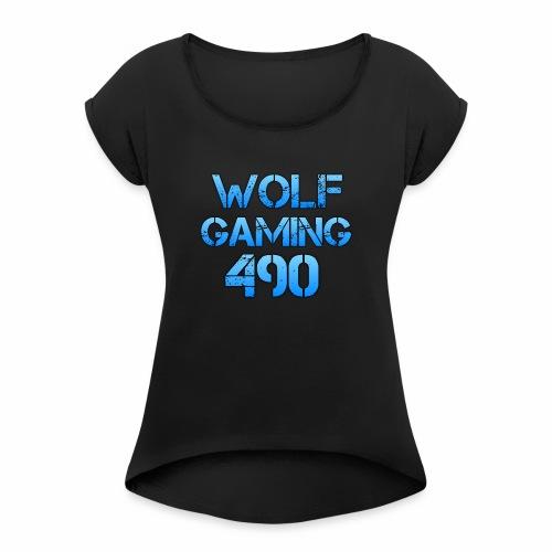 Wolfgaming490 Logo - Women's Roll Cuff T-Shirt
