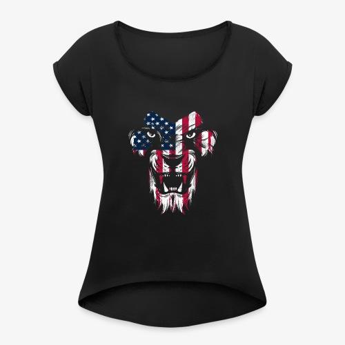 American Flag Lion - Women's Roll Cuff T-Shirt