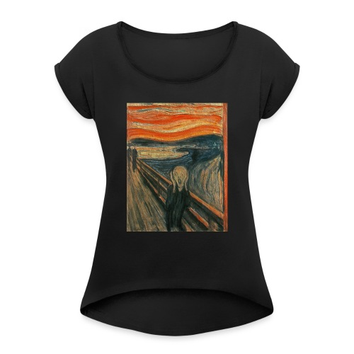 The Scream (Textured) by Edvard Munch - Women's Roll Cuff T-Shirt