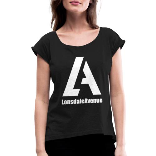 Lonsdale Avenue Logo White Text - Women's Roll Cuff T-Shirt