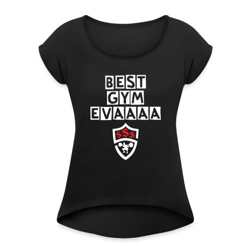 Best Gym Evaaa White and Red - Women's Roll Cuff T-Shirt