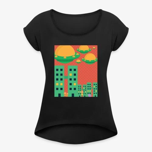 wierd stuff - Women's Roll Cuff T-Shirt