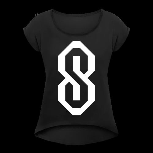 White S Logo - Women's Roll Cuff T-Shirt