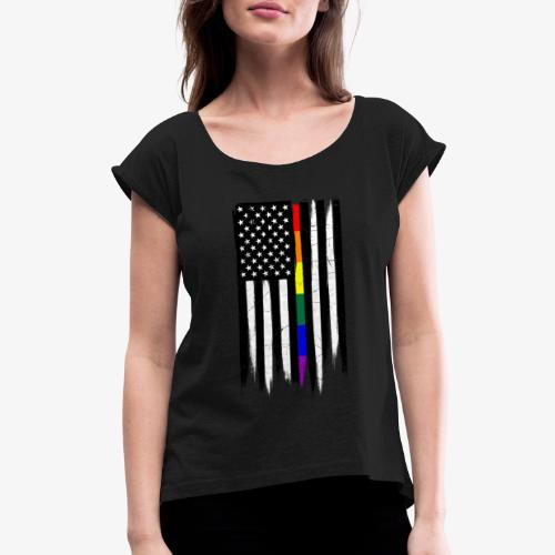 LGBTQ Thin Line Amercian Flag - Women's Roll Cuff T-Shirt
