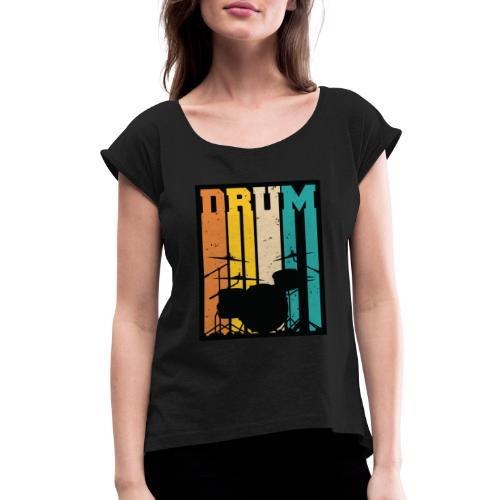 Retro Drum Set Silhouette Illustration - Women's Roll Cuff T-Shirt