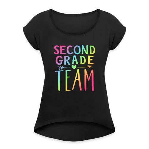 Second Grade Team Neon Rainbow Teacher T-Shirts - Women's Roll Cuff T-Shirt