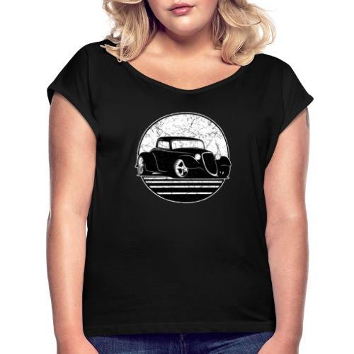 Retro Hot Rod Grungy Sunset Illustration - Women's Roll Cuff T-Shirt