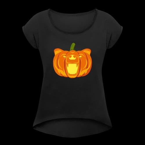 Pumpkin Bear - Women's Roll Cuff T-Shirt