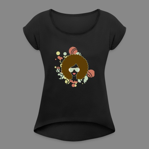 Brown Afro (Abstract) - Women's Roll Cuff T-Shirt