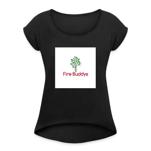 Fire Buddys Website Logo White Tee-shirt eco - Women's Roll Cuff T-Shirt