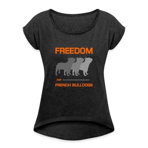 French Bulldogs - Women's Roll Cuff T-Shirt