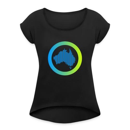 Gradient Symbol Only - Women's Roll Cuff T-Shirt