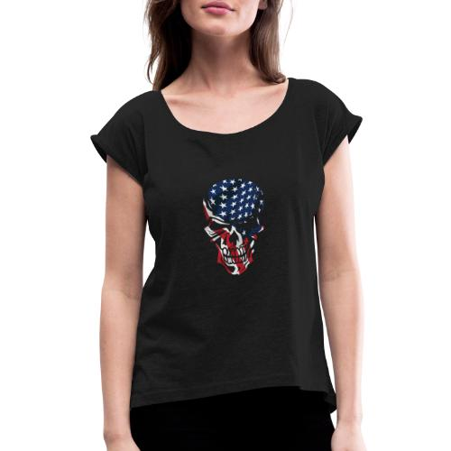 American Flag Skull - Women's Roll Cuff T-Shirt