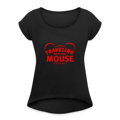 TravelingWithTheMouse logo transparent RED - Women's Roll Cuff T-Shirt
