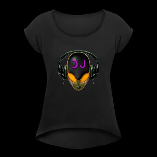 Alien DJ - Orange - Hard Shell Bug - Women's Roll Cuff T-Shirt