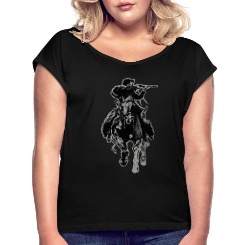 Rustic cowboy with rifle riding horse - Women's Roll Cuff T-Shirt