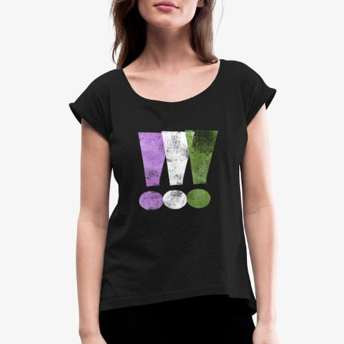 Genderqueer Pride Exclamation Points - Women's Roll Cuff T-Shirt