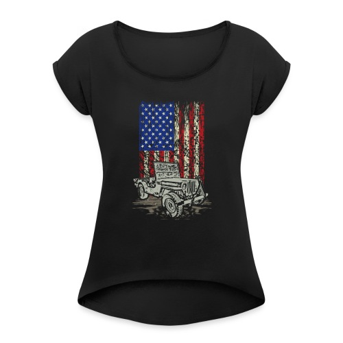 Jeep American Flag - Women's Roll Cuff T-Shirt