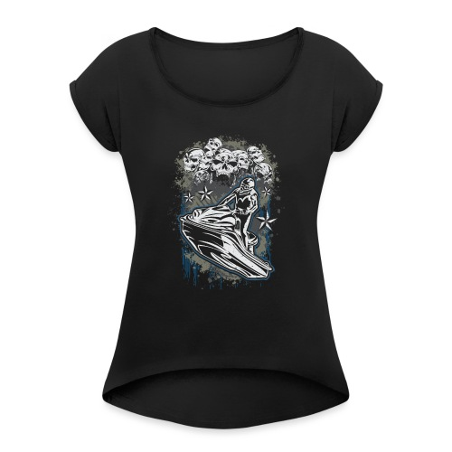 Jet Ski Skull Bunch - Women's Roll Cuff T-Shirt
