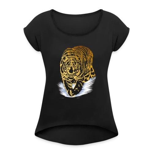 Golden Snow Tiger - Women's Roll Cuff T-Shirt